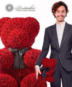 Χειροποίητο αρκουδάκι από κόκκινα τριαντάφυλλα, πακέτο πολυτελείας.Τριαντάφυλλα που διαρκούν για πάντα.