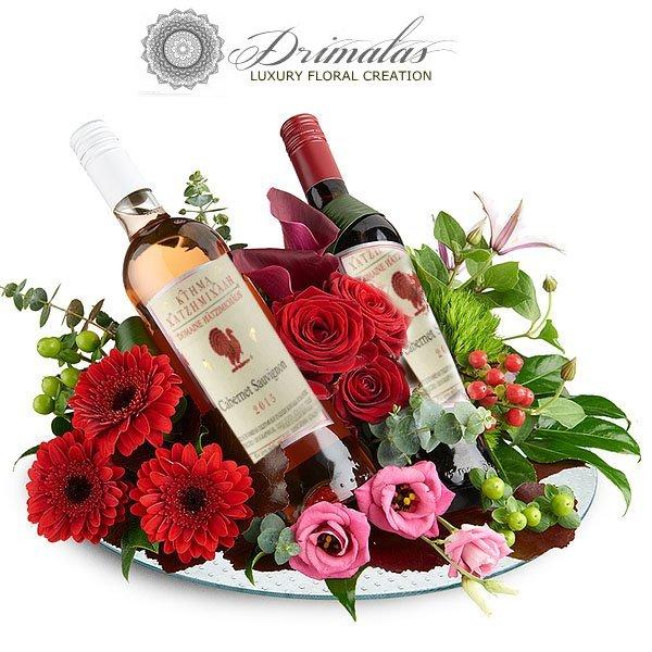 Λουλούδια με ποτά και κρασιά για δώρο