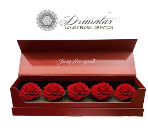 κουτί σε σχήμα καρδιάς με κόκκινα τριαντάφυλλα